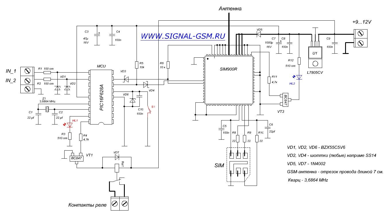 Схема сигнализация gsm своими руками